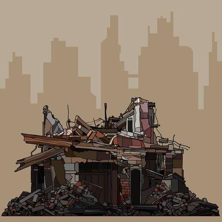 ruines d'un vieux bâtiment en briques sur la silhouette de la ville brune Vecteurs