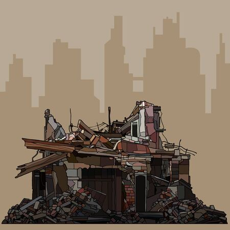ruins of an old brick building on the silhouette of the brown city Vector Illustration