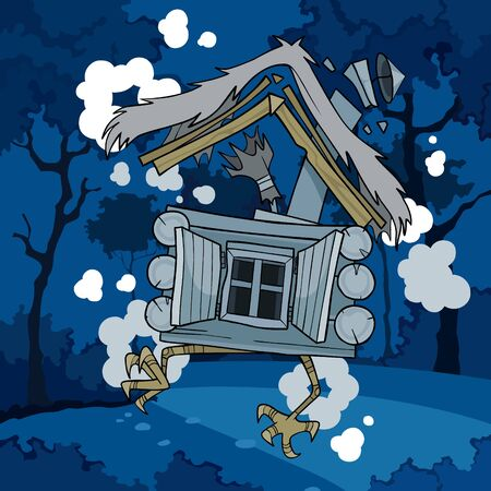 cartoon fairytale house on chicken legs riding in the night forest