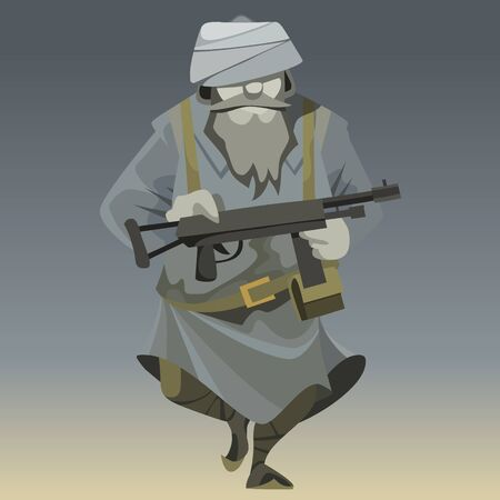 cartoon unrecognizable man in military outfit warrior Mujahedin with in arms Ilustração