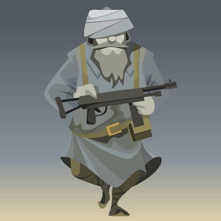dessin animé homme méconnaissable en tenue militaire guerrier moudjahidin avec dans les bras Vecteurs