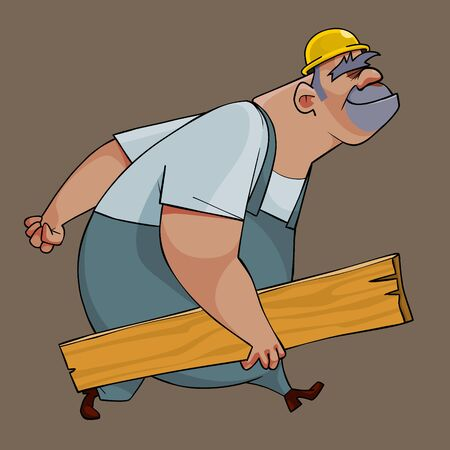 cartoon healthy male builder steps with board in his hand 矢量图像