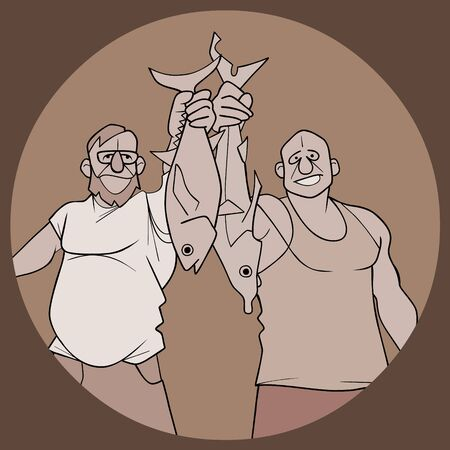 sketch of two cartoon male fishermen hold their fish catch