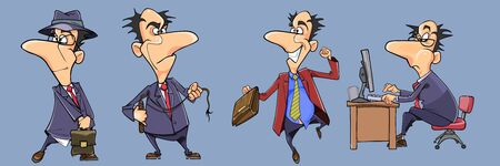 set of different poses of funny cartoon businessman man in suit with tie Иллюстрация