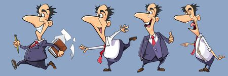 set of different poses of funny cartoon emotional man in suit with tie