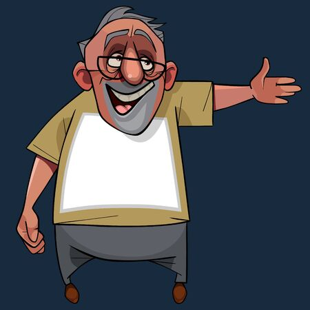 cartoon joyful gray-haired man in glasses points hand to the side