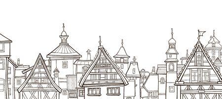 dessin de contour d'une ville avec des maisons à colombages