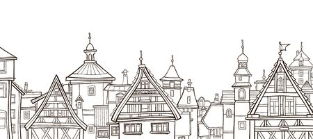 outline drawing of a city with half-timbered houses
