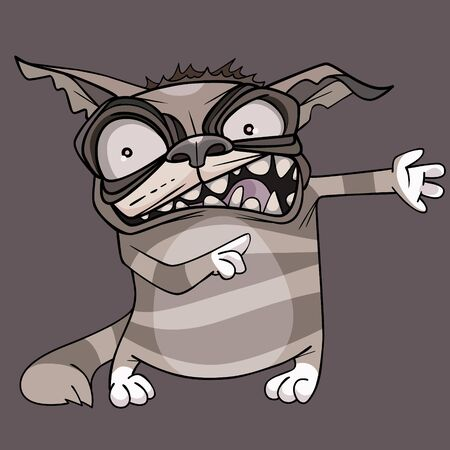 funny cartoon toothy angry tabby cat paws sideways