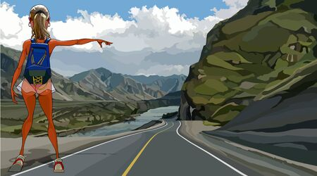 cartoon girl hitchhiking on a highway in mountainous area
