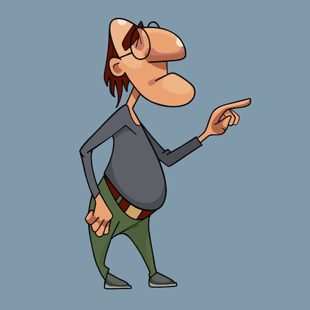 cartoon funny pensive man in glasses stands composes and counts