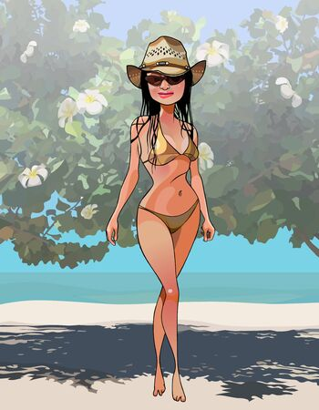 cartoon woman in swimsuit and hat stands shyly on the seashore