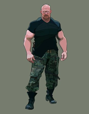 funny cartoon muscular brutal man in military clothes