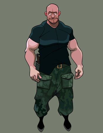 funny cartoon brutal muscular man in camouflage pants