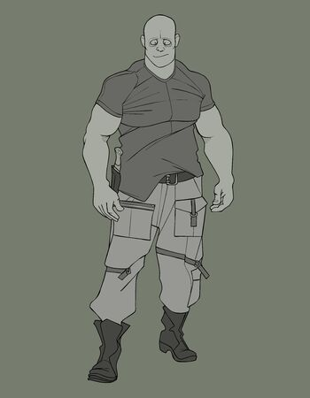 sketch of cartoon funny brutal muscular man in military clothes