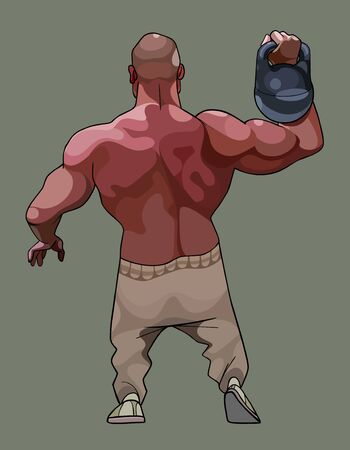 Cartoon muscular muscled man doing an exercise with a kettlebell. View from the back Illustration