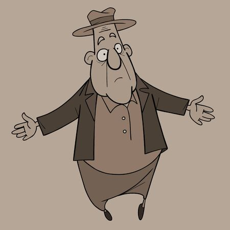 Cartoon surprised man in hat stands spreading his arms to the sides. In monochrome Ilustração