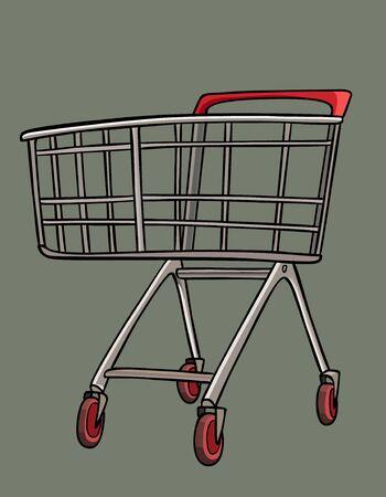 Cartoon empty metal shopping cart trolley with castors for shopping. Vector image Ilustração