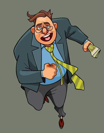 cartoon man in suit runs and with money in his hand Ilustração