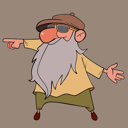 cartoon grandfather with long beard points his finger to the side