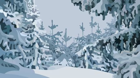 gray winter cartoon forest background with snowy fir trees Illustration