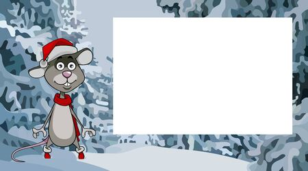 cartoon rat the symbol of the new year stands in the winter forest next to an empty sheet