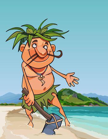 Cartoon natives man with a stone hammer on the seashore. Vector image