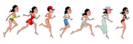 Cartoon woman in various clothes runs in different poses. Vector image