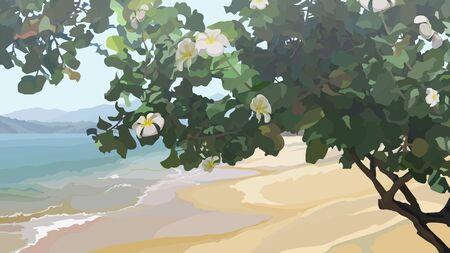 Tropical tree with flowers on the sandy coast of the sea. Vector image Ilustração