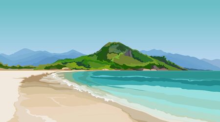 Turquoise sea with a sandy beach surrounded by mountains. Vector image