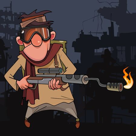 cartoon soldier in cyberpunk style with flamethrower on the background of ruins
