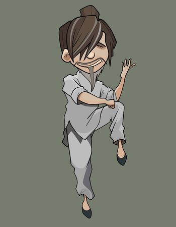 cartoon man in kimono doing wushu exercise standing on one leg