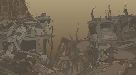 gloomy cartoon ruins of crooked ruined houses in dusty fog 向量圖像