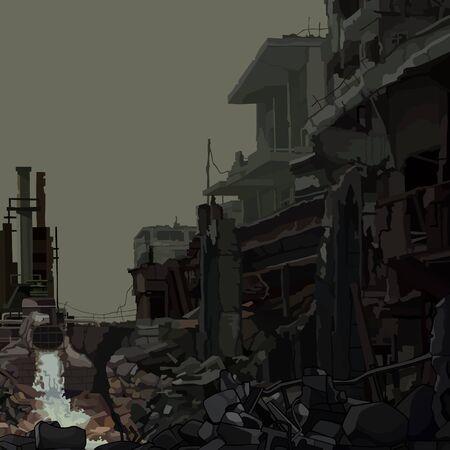 Industrial background ruins of an industrial enterprise. Vector image Ilustração