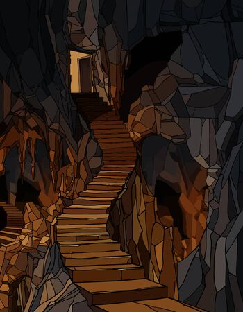 cartoon background entrance door with a long stone staircase descending into the cave