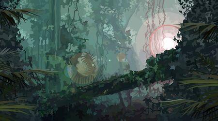 Dicht groen begroeid regenwoud met een heldere lichtbron. Vector afbeelding