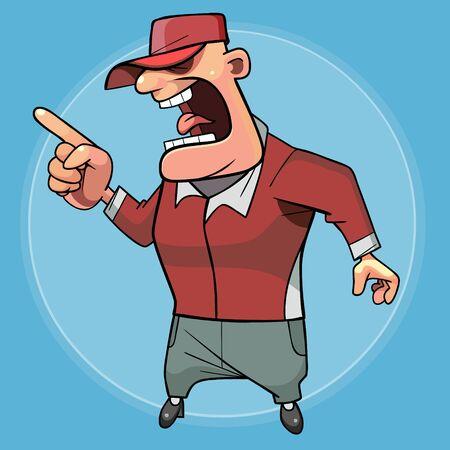 cartoonish stern male trainer screaming and threatening with finger Ilustração