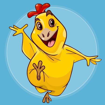 cartoon smiling yellow chicken fun walks on a blue background