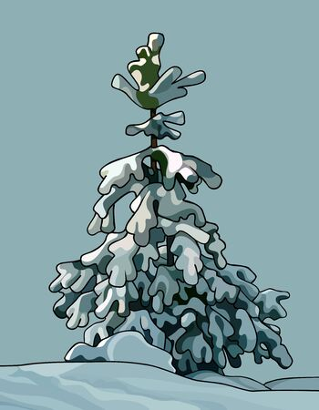 one cartoon little spruce covered with snow in snowdrift Ilustração