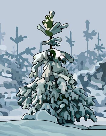 cartoon little spruce covered with snow in snowy forest Illustration