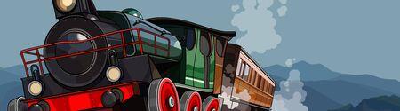 cartoon vintage steam train rides on background of mountains Ilustração