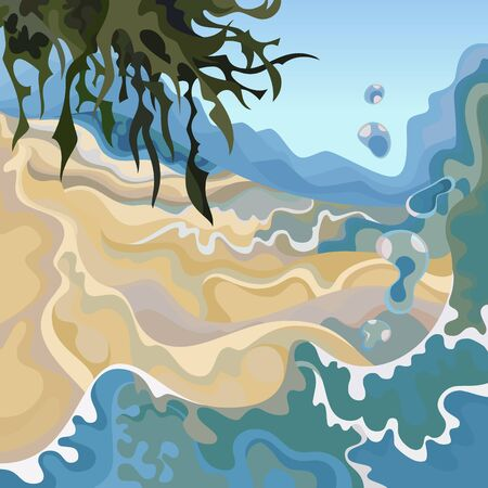 abstract cartoon sea background with waves and plants on the sandy shore Ilustração