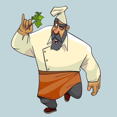cartoon walking man in cook clothes with green plant in hand