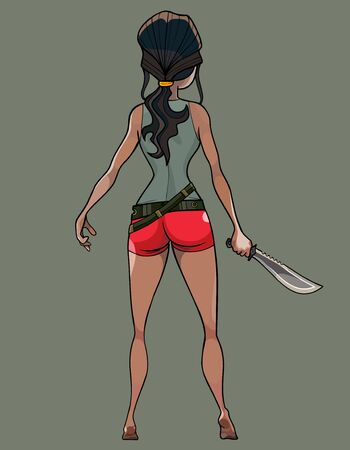 Cartoon woman with a belt and a machete in her hand. The view from the back. Ilustração