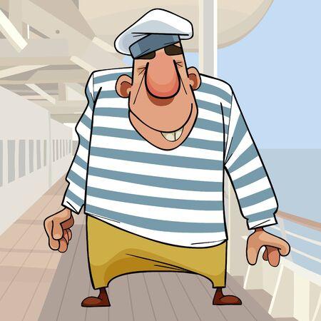 cartoon funny smiling man big sailor in striped vest on deck of ship Ilustração
