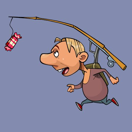 cartoon man running for candy hanging on fishing rod