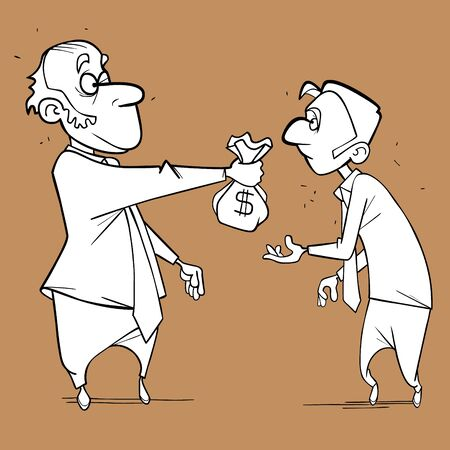 sketch of a cartoon man holding out bag of money to another