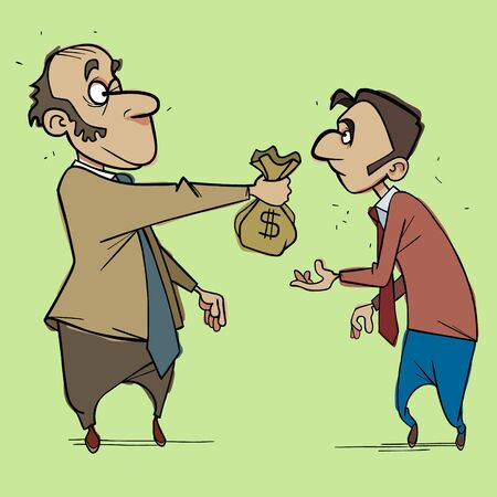 cartoon man holds out bag of money to another