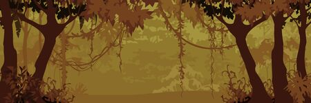 Panorama of cartoon deciduous forest with creepers. In brown tones