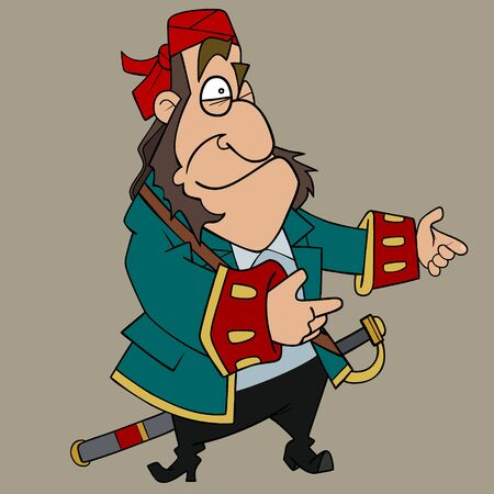 cartoon character surprised man in pirate clothes with saber 일러스트